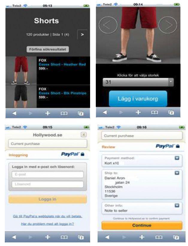 Slik kan en PayPal-basert betalingsløsning på mobilen se ut.