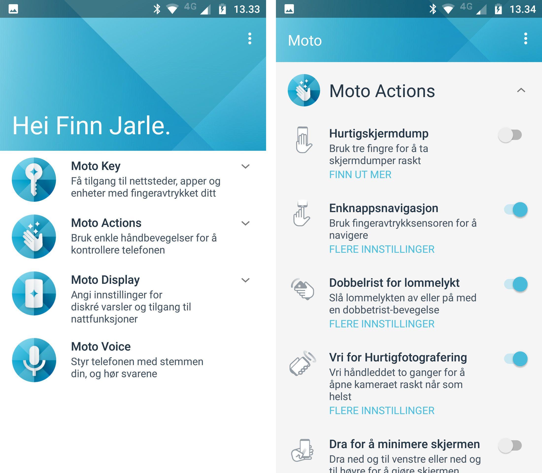 Motorolas egne funksjoner er i hovedsak samlet i en egen Moto-app. Det meste av innholdet her er nyttig, men stemmefunksjonene virker ikke i Norge.