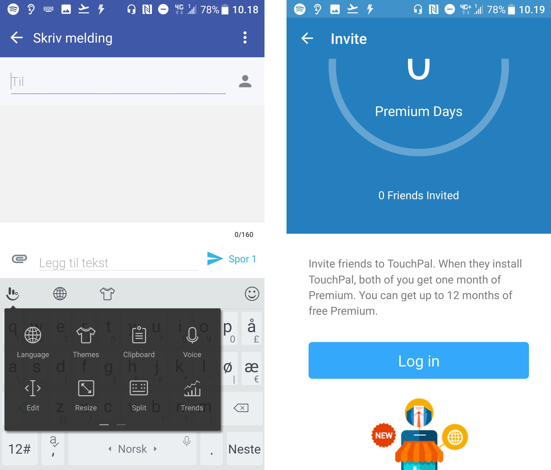 TouchPal er i utgangspunktet en av de mest kommersielle tastaturopplevelsene man kan ha på en Android-telefon. Det har for eksempel lyst til at du skal dele det med venner, eller kjøpe tilleggspakker av ymse slag.