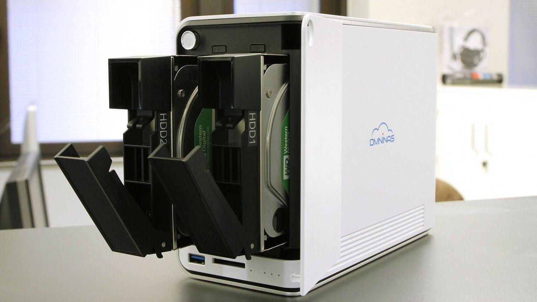 Shuttle OmniNAS KD20 har plass til to harddisker.Foto: Vegar Jansen, Hardware.no