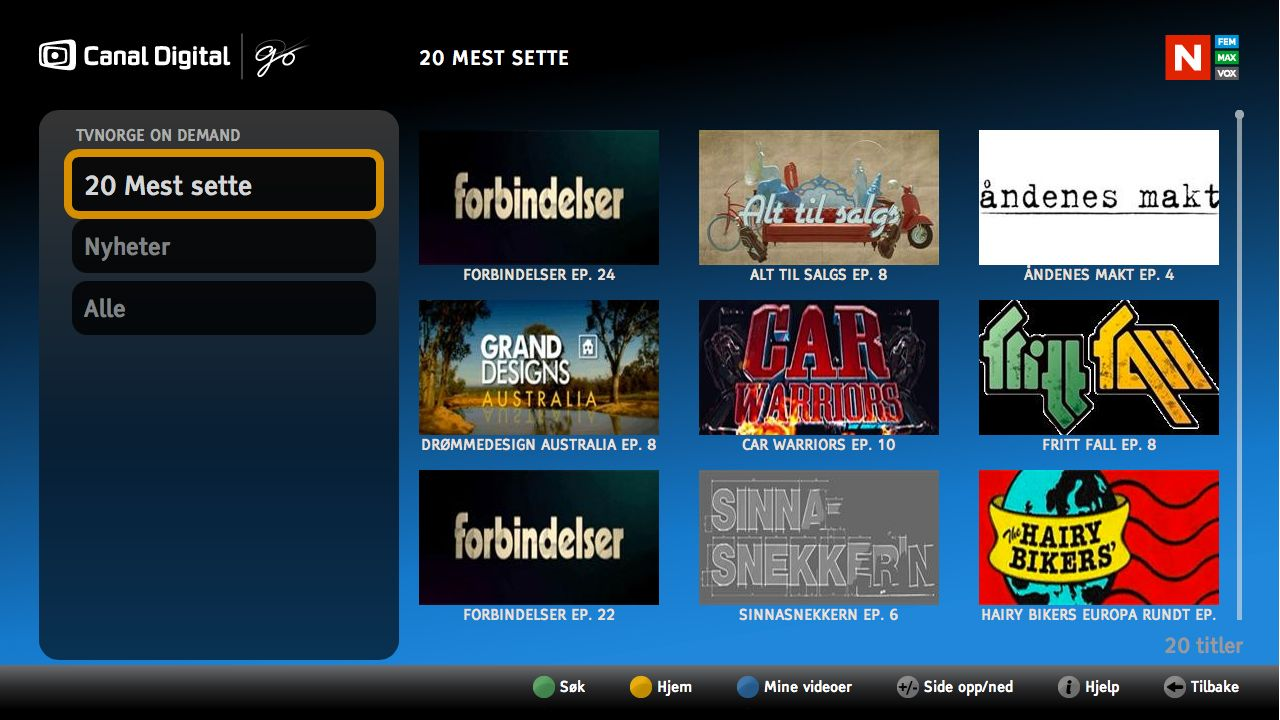 Slik ser TVNorge on demand ut.Foto: Canal Digital