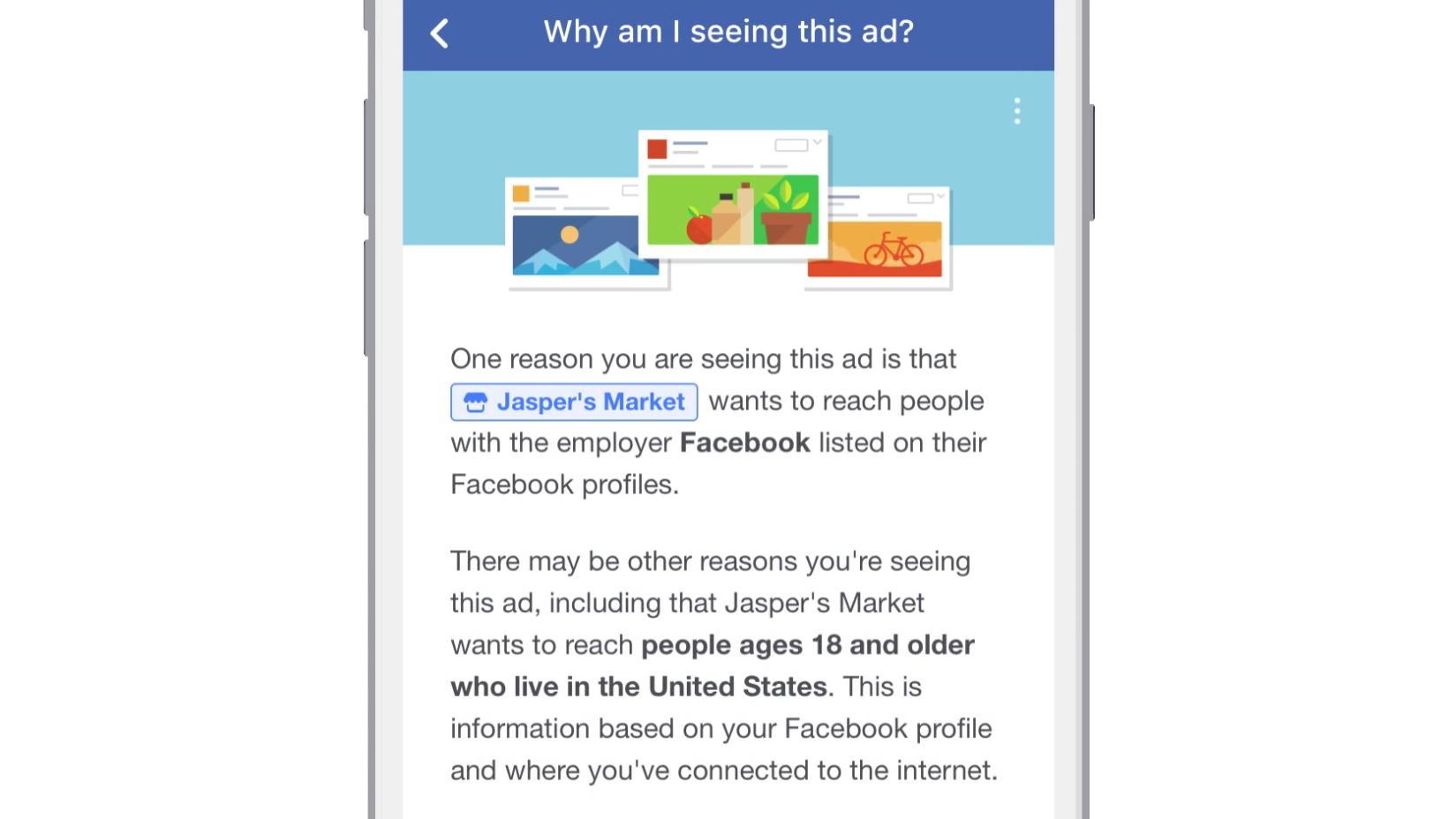 Du kan også få opp informasjon om hvorfor du ser ulike annonser.