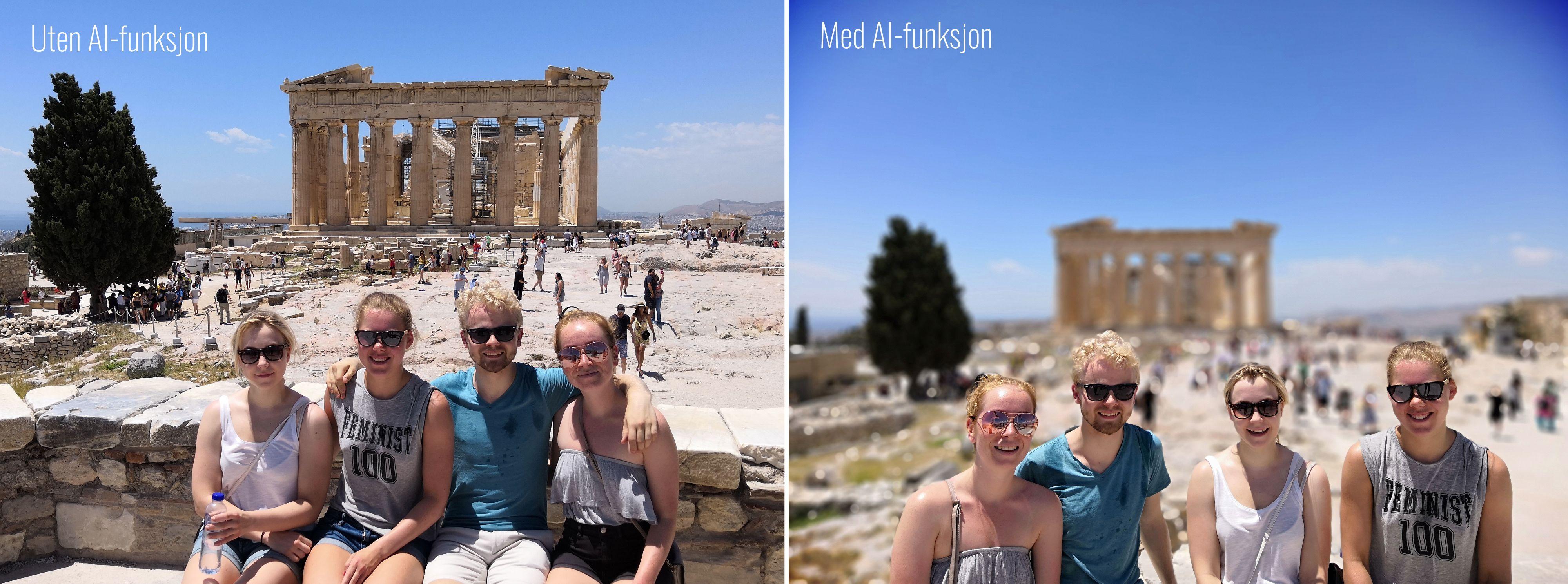 AI-modusen gir automatisk uklar bakgrunn på bilder av mennesker.