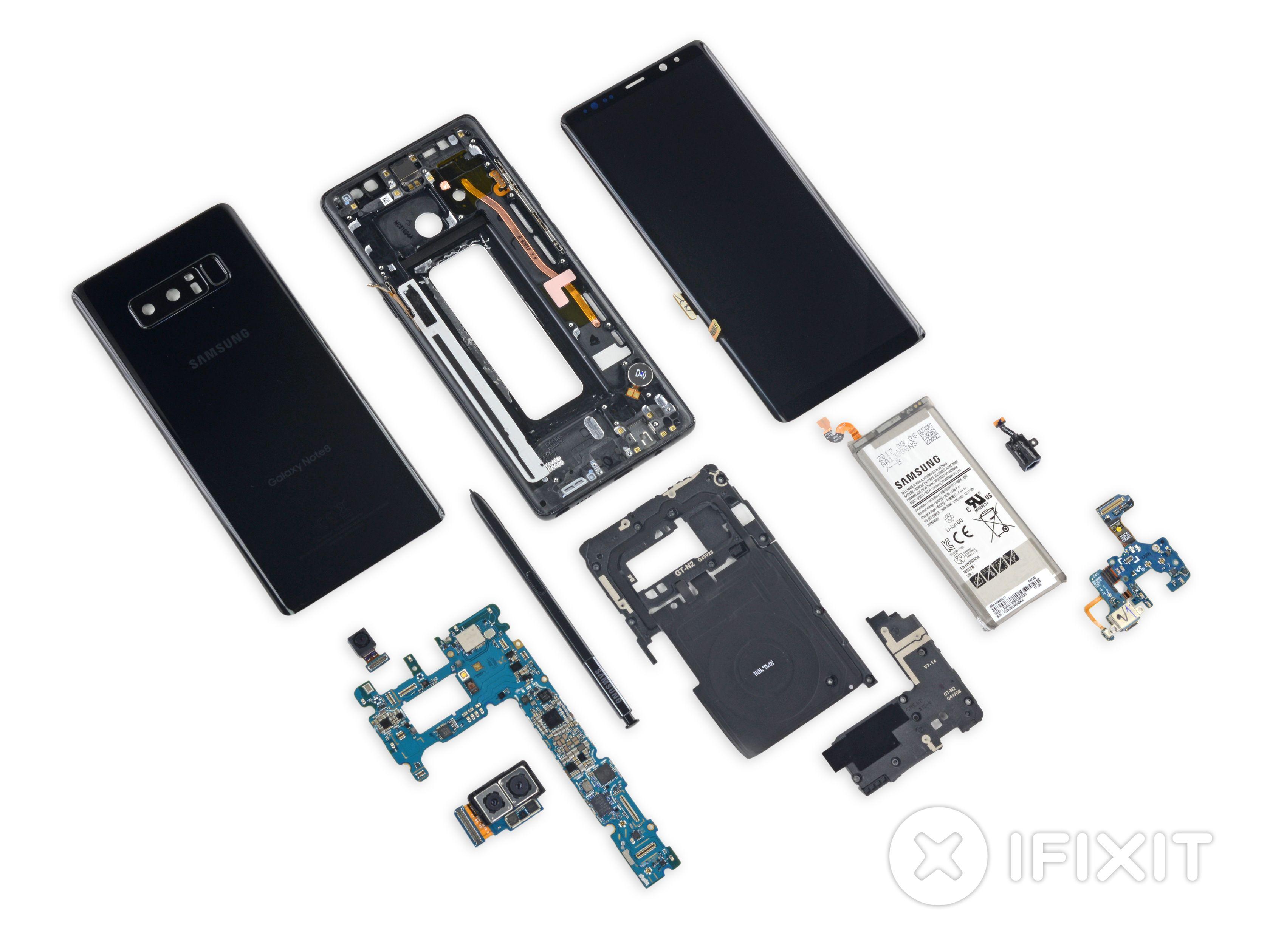 Galaxy Note 8 ferdig demontert.