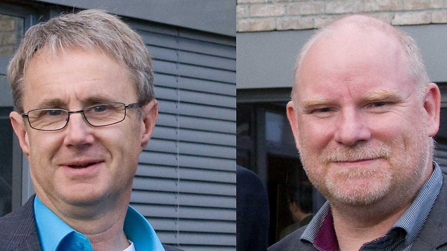 Dekningsdirektør Bjørn Amundsen i Telenor og dekningssjef Tommy Johansen i Telia er fornøyd med at den nye Apple-mobilen støtter bruk av tre samtidige frekvensbånd. (Montasje)