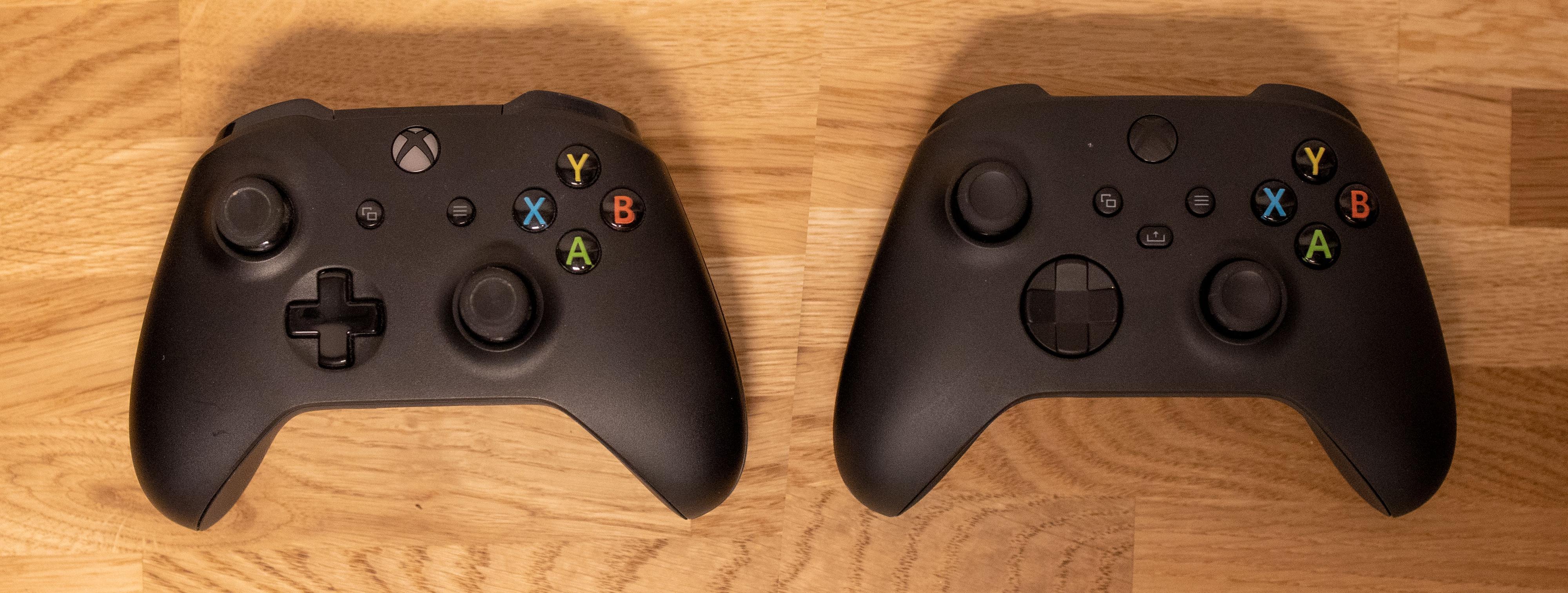 Til venstre er Xbox-kontrolleren fra Xbox One, til høyre er den nye som følger med Xbox Series X.