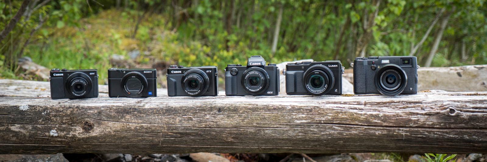 Sortert fra størst til minst, fra venstre: Canon G9 X, Sony RX100 IV, Canon G7 X Mark II, Canon G5 X, Panasonic Lumix LX100 og Fujifilm X100T.