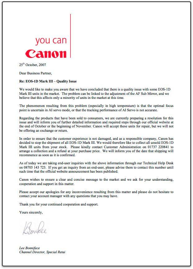 Brevet fra Canon UK Klikk for full størrelse