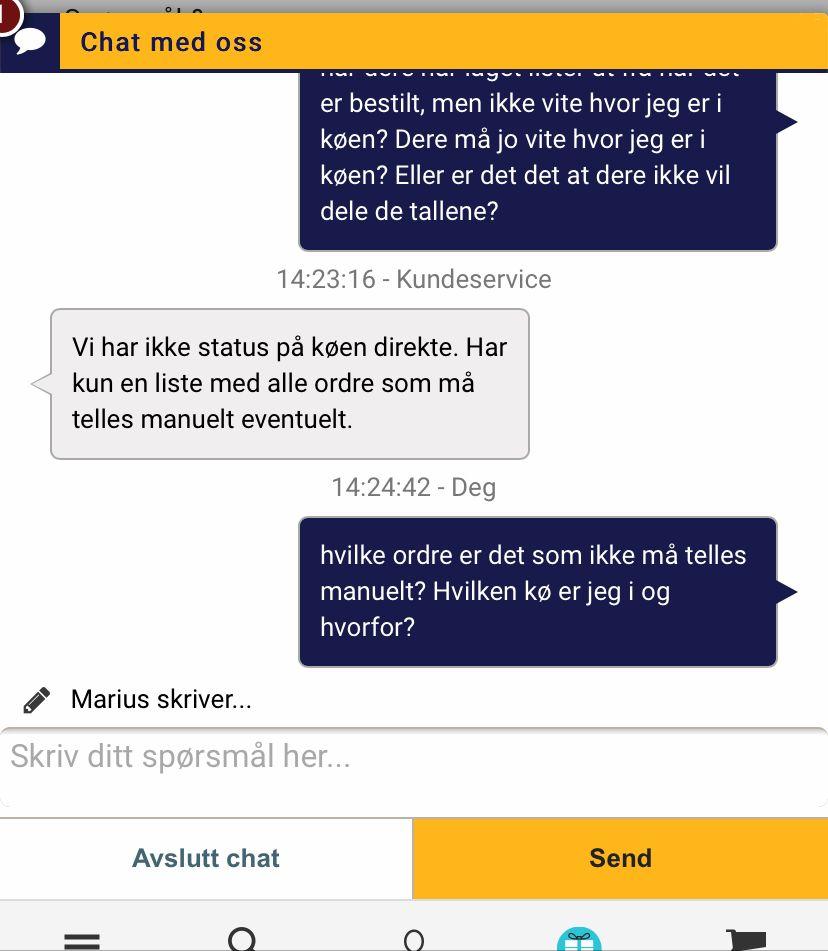 Skjermdump fra André Haugens meldingsutveksling med Kompletts kundeservice.