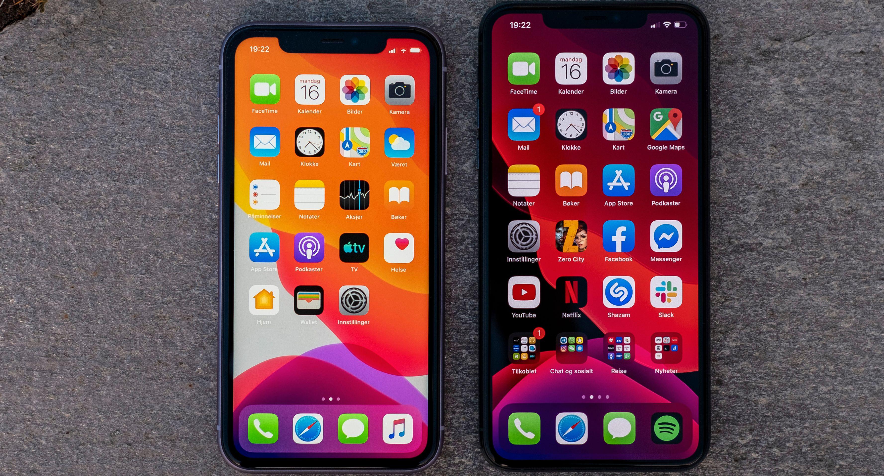 iPhone 11, til venstre, har også meget god lyd, men den har vesentlig svakere spesifisert skjerm, med under full-HD-oppløsning og et LCD-panel som slipper gjennom mye mindre lys enn det Pro-modellenes AMOLED-skjermer kan gi fra seg.