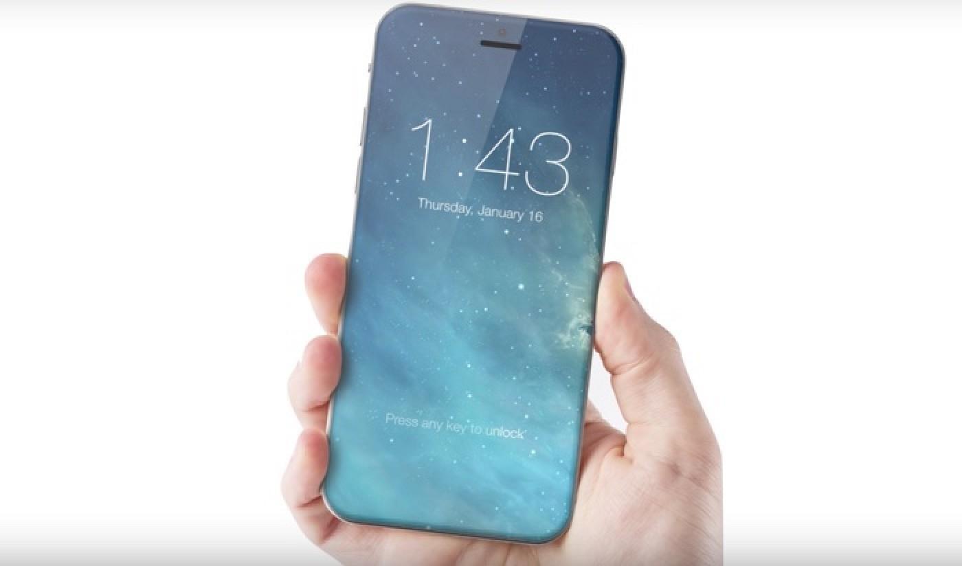En av de nye iPhone-modellene kan få kant-til-kant-skjerm og ingen hjemknapp, som på denne Konsepttegningen av en annen mobil.