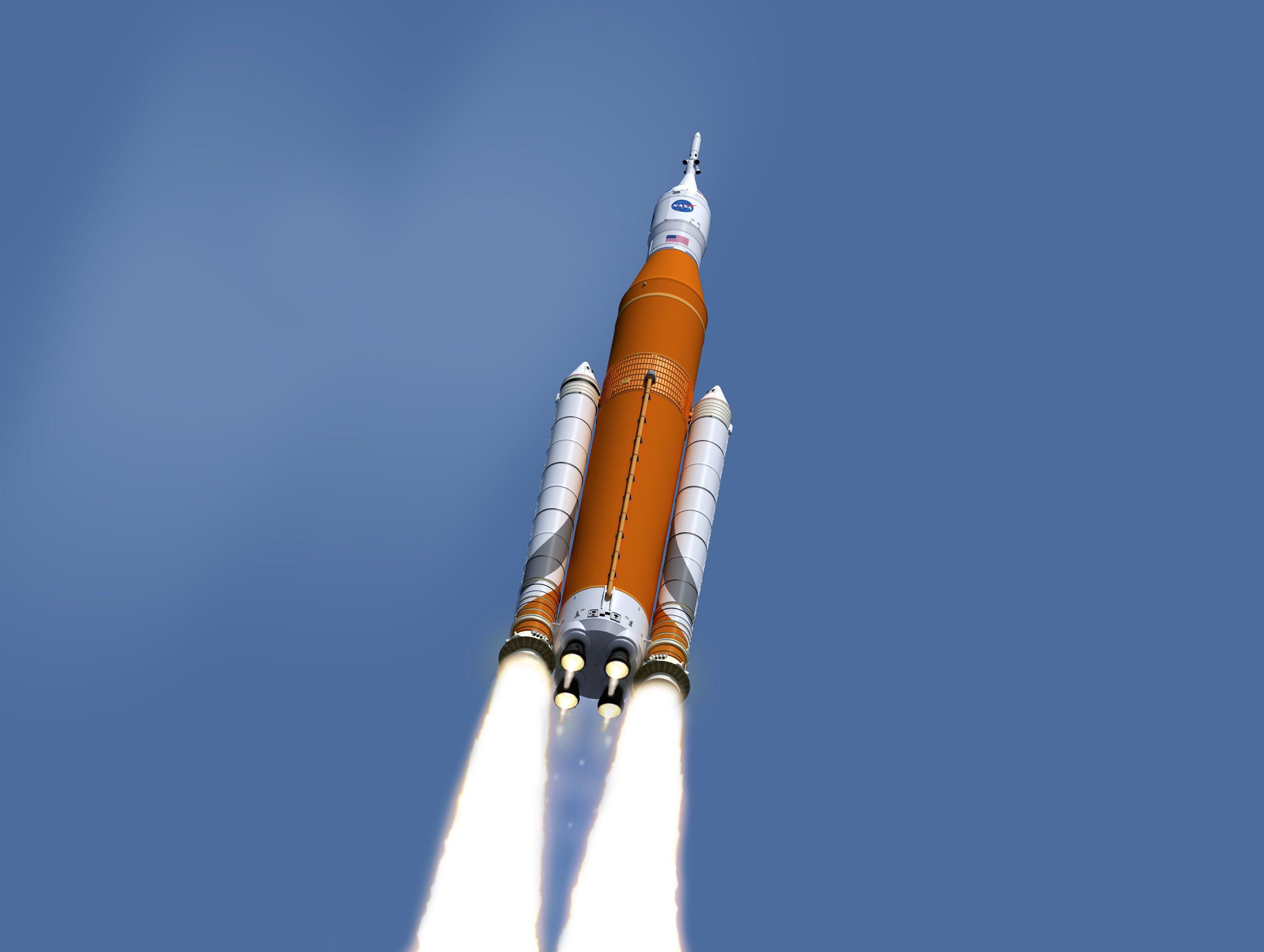 Illustrasjonsbilde av SLS-raketten. Foto: NASA