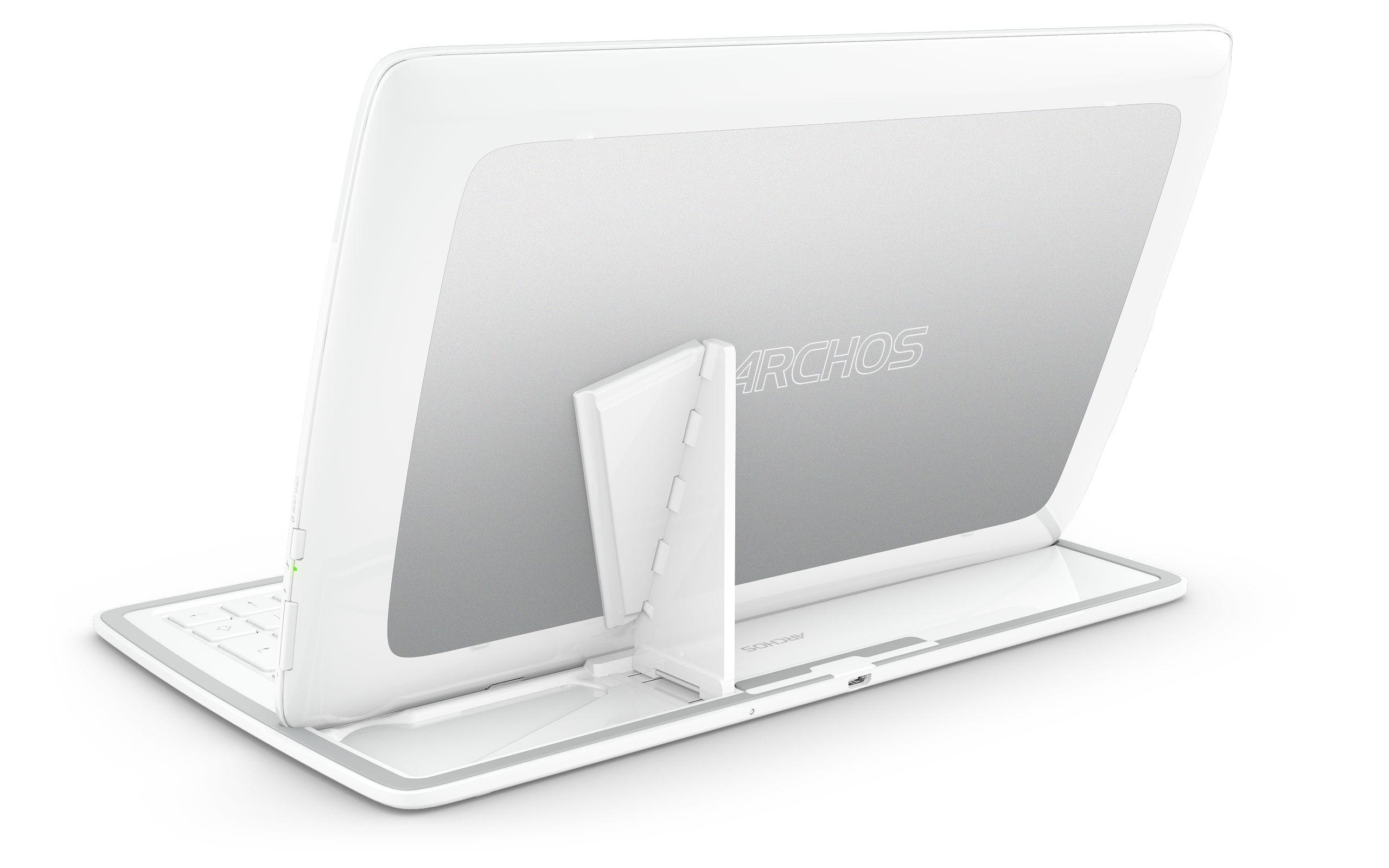 Nettbrettet festes til tastaturet ved hjelp av magneter og en magnetisk støtte.Foto: Archos