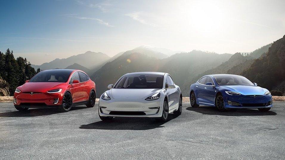 Tesla Model X, Model 3 og Model S.
