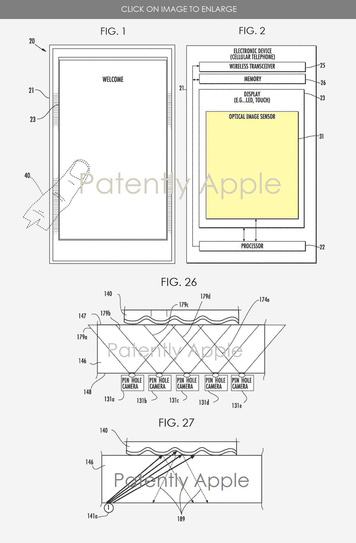 Patentet som illustrerer hvordan Apple vil lese fingeravtrykk gjennom skjermglasset.