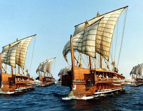 Rekonstruksjon av små, greske krigsskip. Foto: EDSITEment