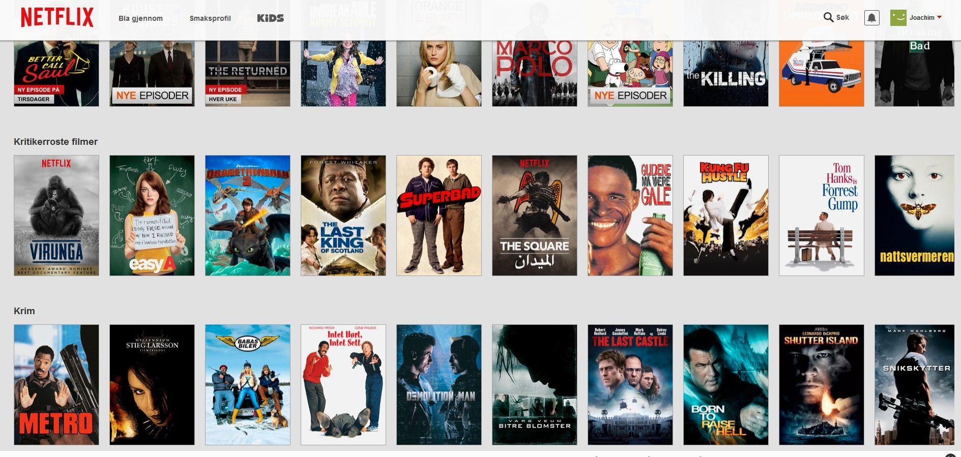 Disse skrollende listene tar evigheter å komme gjennom. Foto: Netflix