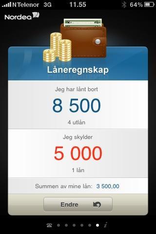 Låneregnskap er en ny funksjon i Nordeas Iphone-applikasjon.