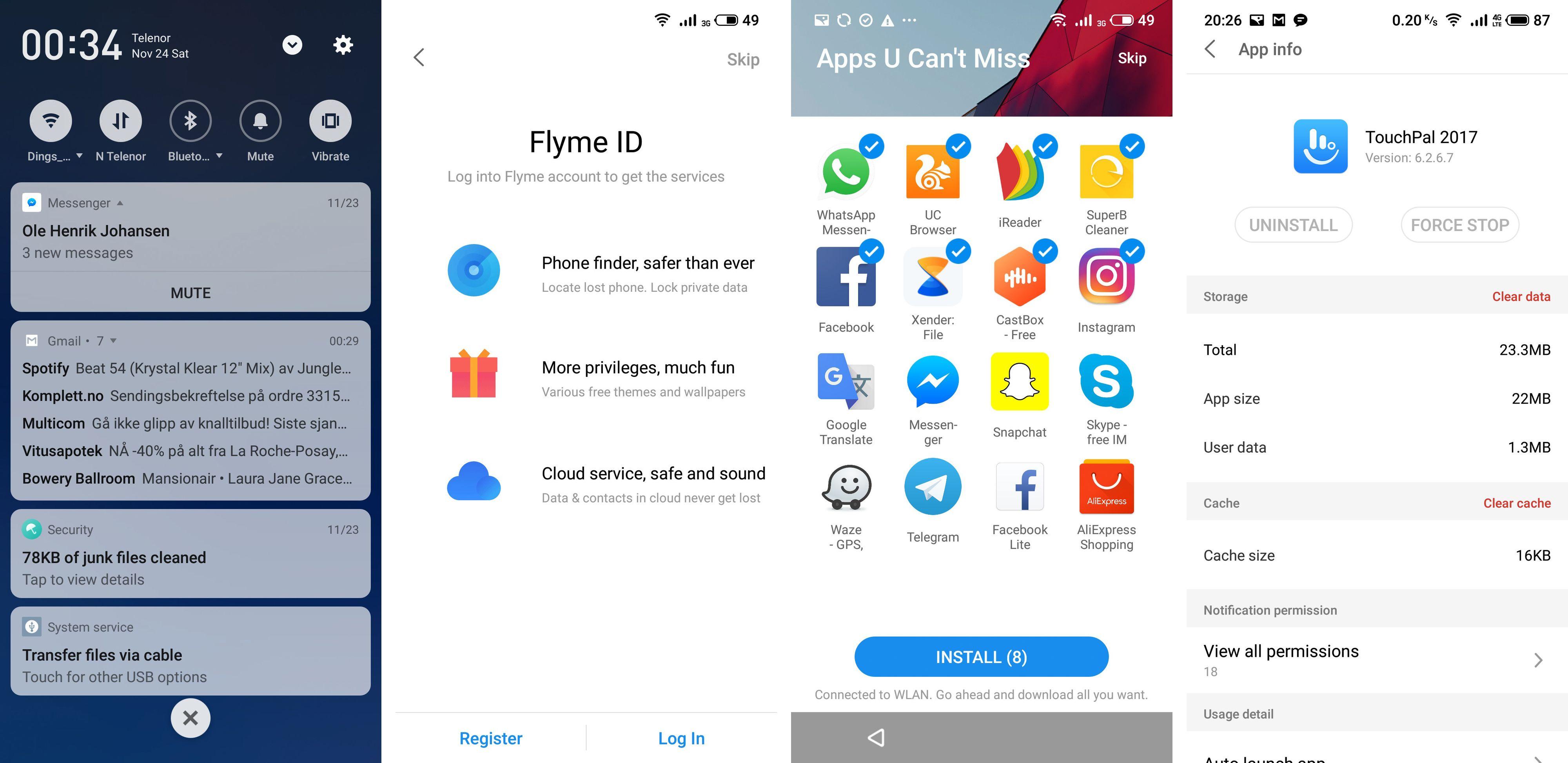 Flyme er Meizus Android-menyer, og de er litt annerledes enn Googles egne. Spesielt med tanke på at du ikke har noen appskuff bak hjemmeskjermene dine. Pluss i boka for at du får velge om du vil ha flesteparten av ekstraappene som tilbys. Mens vi rynker pannen over at det funksjonsforvokste og masete tastaturet Touch Pal ikke er valgfritt.