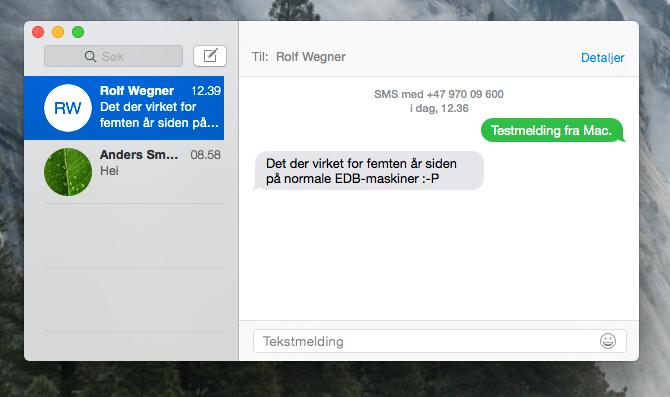 I Yosemite har Apple samlet alle meldinger i en applikasjon, og lar deg til og med sende SMS fra Mac-maskinen din.