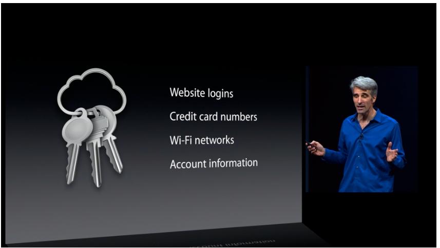 iCloud Keychain skal legge alle passordene dine i skyen, kryptert og sikret. På denne måten har du tilgang til alle passordene dine, uansett hvor du er. .Foto: Apple