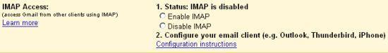 IMAP-innstillinger i Gmail