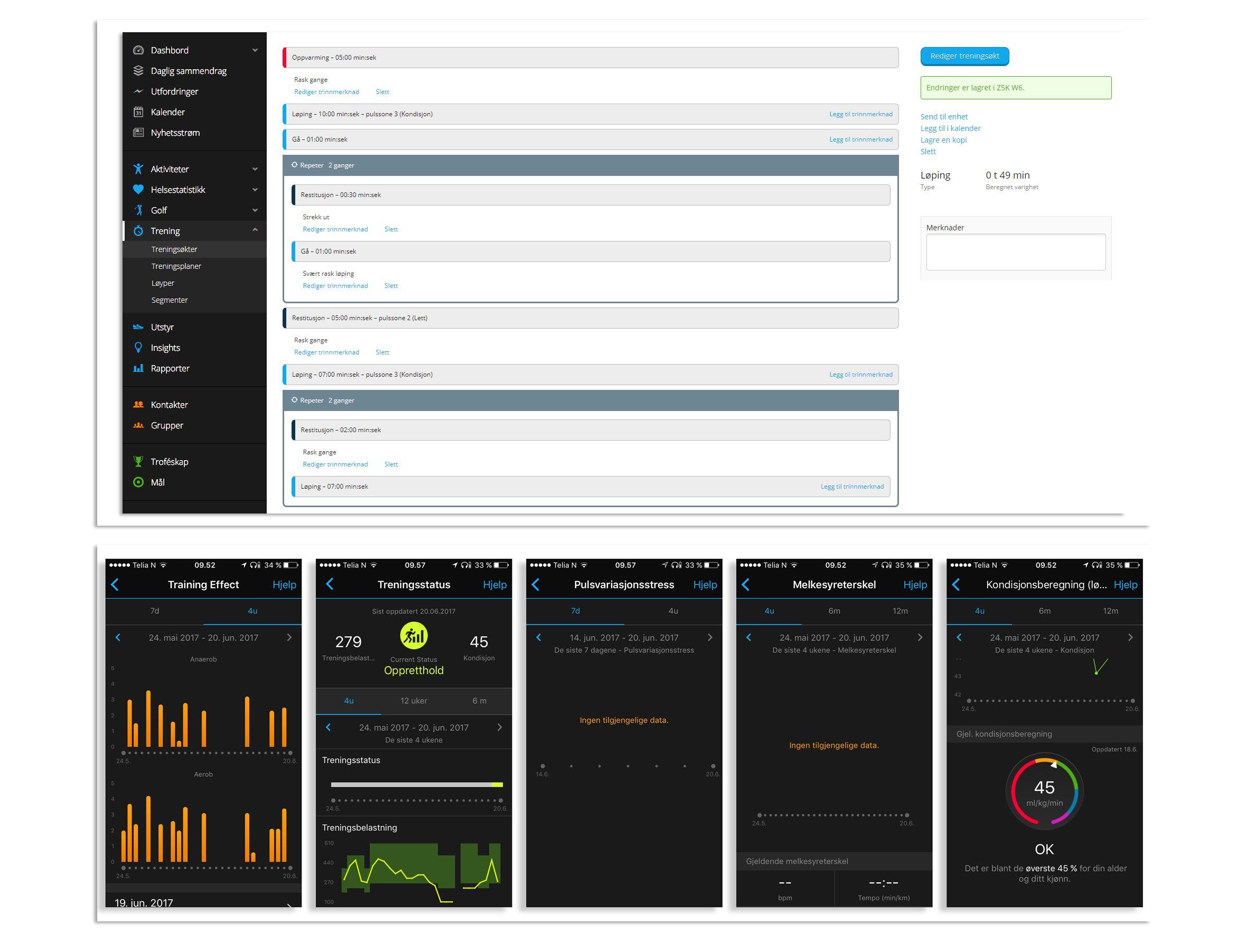 Favorittfunksjonene fra Garmin er muligheten til å lage komplekse treningsøkter med instruksjoner som vises på klokka, samt gode data på treningseffekt, kondisjonsfremgang og belastning over tid.