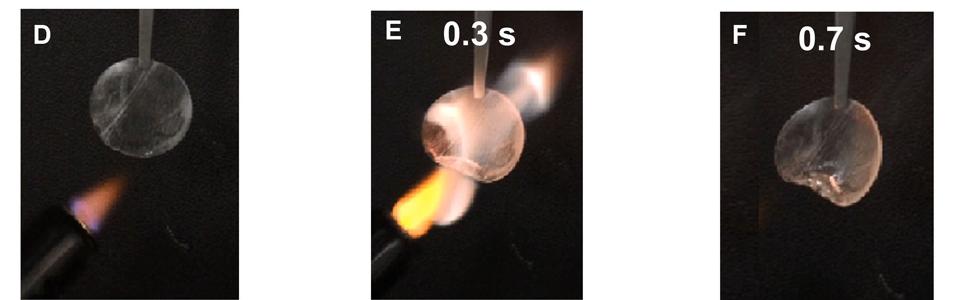 Etter 0,3 sekunder begynner separatoren å brenne (E), og 0,4 sekunder senere er brannen slukket (F) takket være flammehemmeren. Separatorens diameter er her 1,6 cm.
