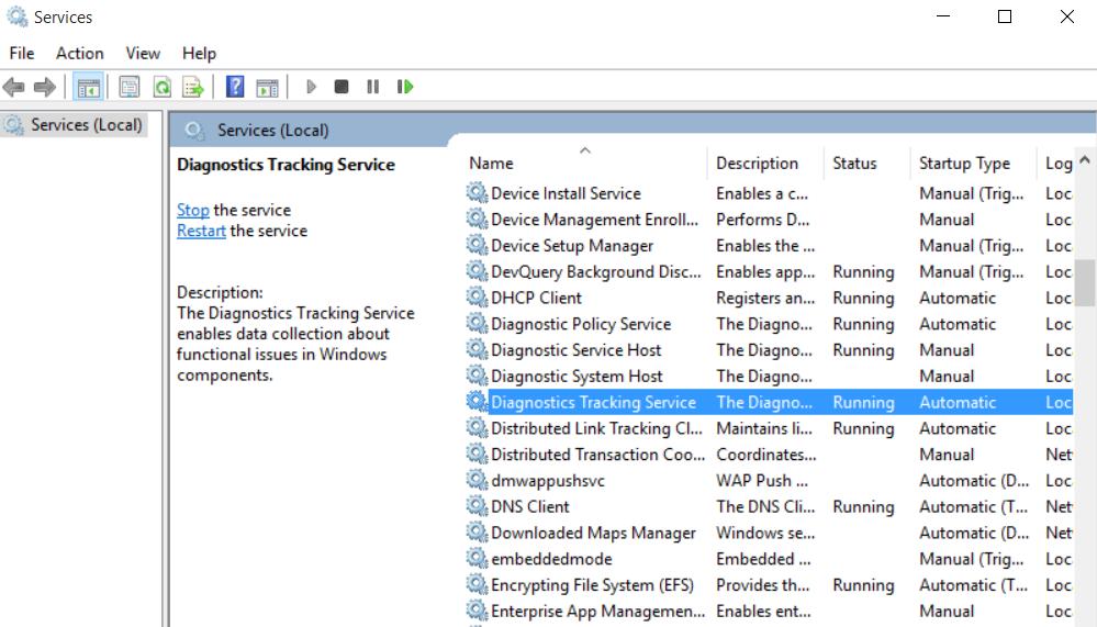 """""""Diagnostic Tracking Service"""" sporer mye av Windows-aktiviteten din, og må antakelig deaktiveres på nytt etter navneskifte. Foto: Skjermdump"""