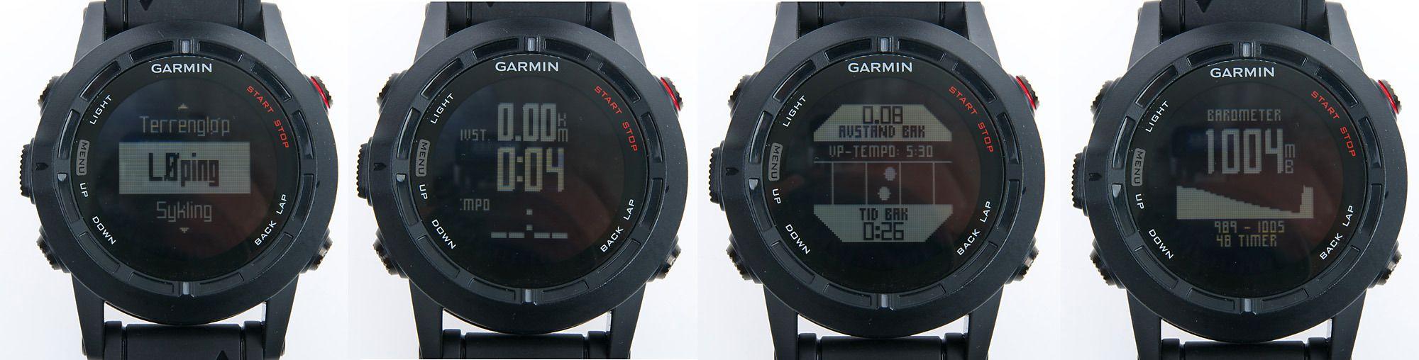 """Noen skjermbilder fra Fenix 2. Fra venstre: 1) Start av aktivitet, 2) en av flere informasjonsskjermer under løping, 3) """"virtual partner"""" lar deg konkurrere mot virtuell treningspartner, 4) barometer.Foto: Kurt Lekanger, Tek.no"""