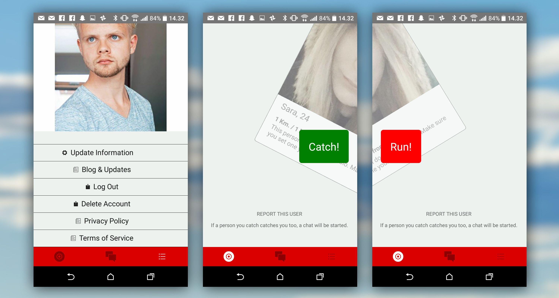 NESTEN TINDER: Du sveiper til høyre for å «fange», og til venstre for å «løpe». Til venstre ser du profilen slik den ser ut etter at du har koblet appen mot Facebook (om mulig med ditt eget profilbilde istedenfor artikkelforfatterens).