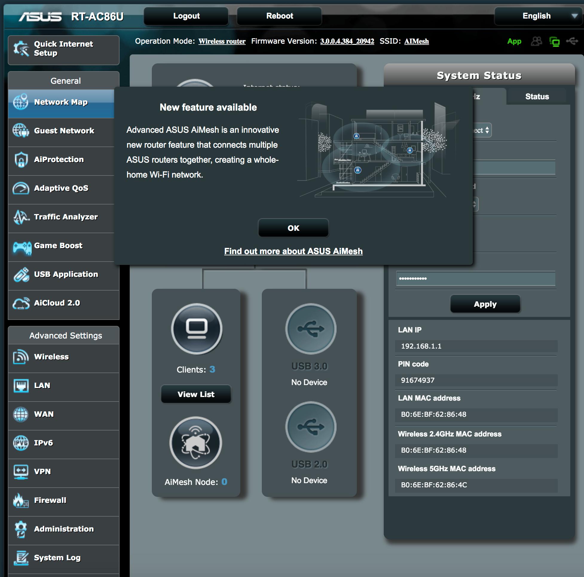 AIMesh-løsningen gir deg akkurat de samme funksjonene som du ville hatt på en helt vanlig Asus-ruter.