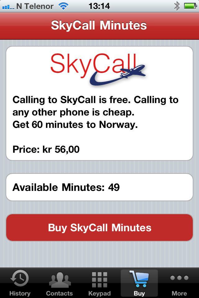 60 minutter med ScyCall koster 54 kroner og kan kjøpes med mobilen.