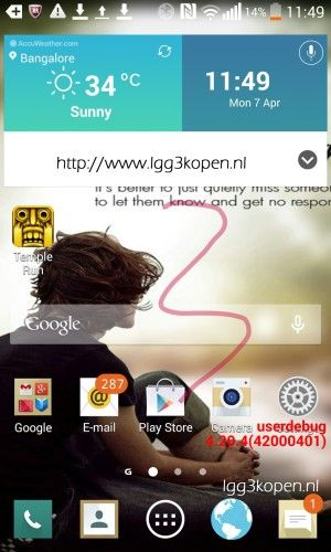 Dette skal være et skjermbilde fra LGs kommende toppmodell.Foto: lgg3kopen.nl