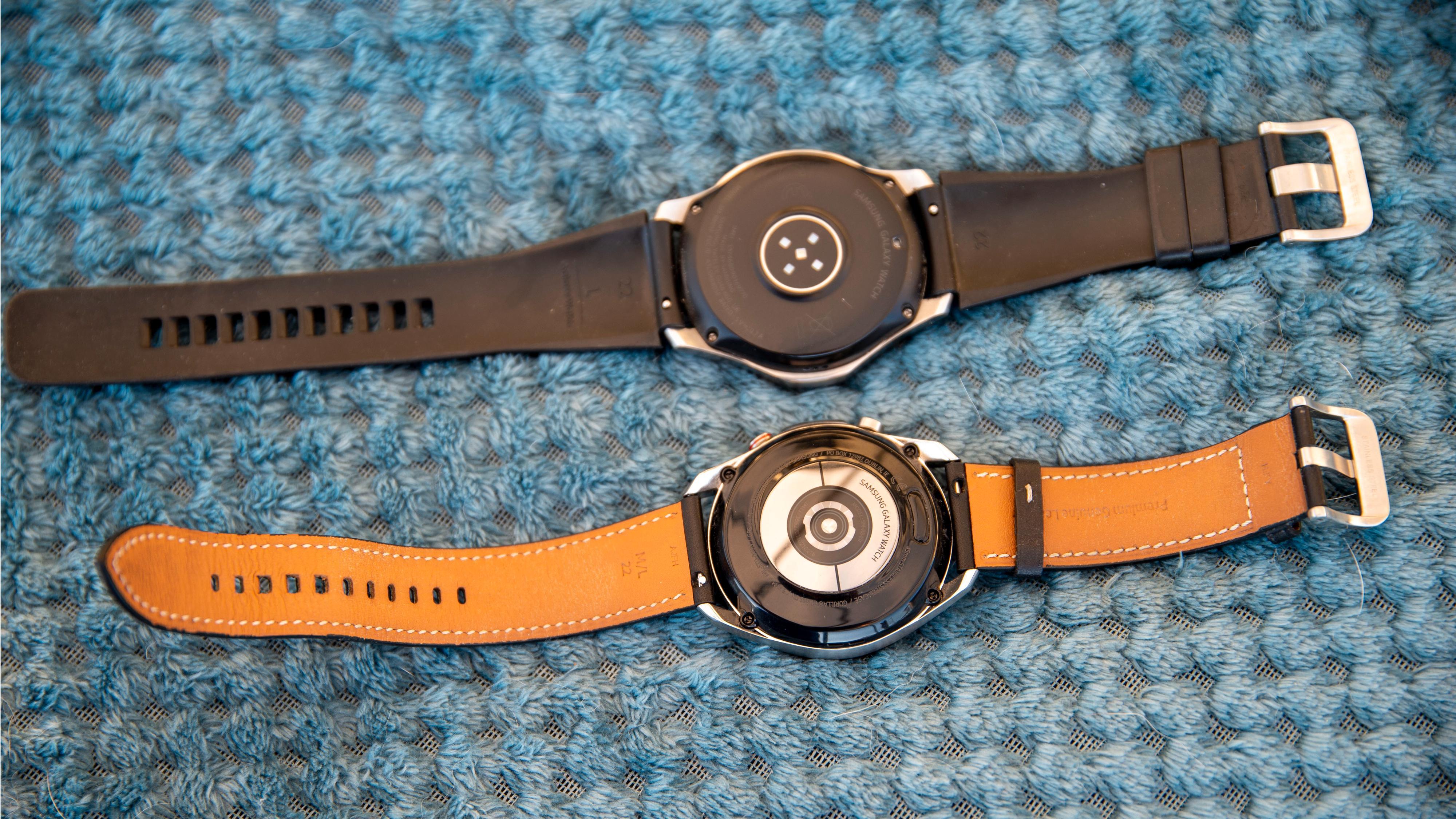 Galaxy Watch 3 (nederst) har fått bedre og mer presis pulsmåler.