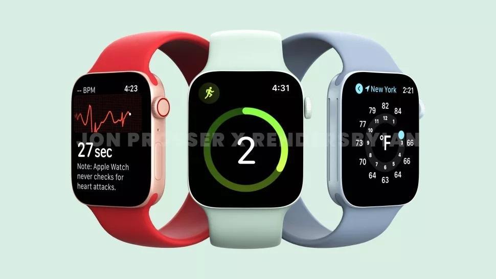 Slik sier ryktene at nye Apple Watch series 7 kan se ut.