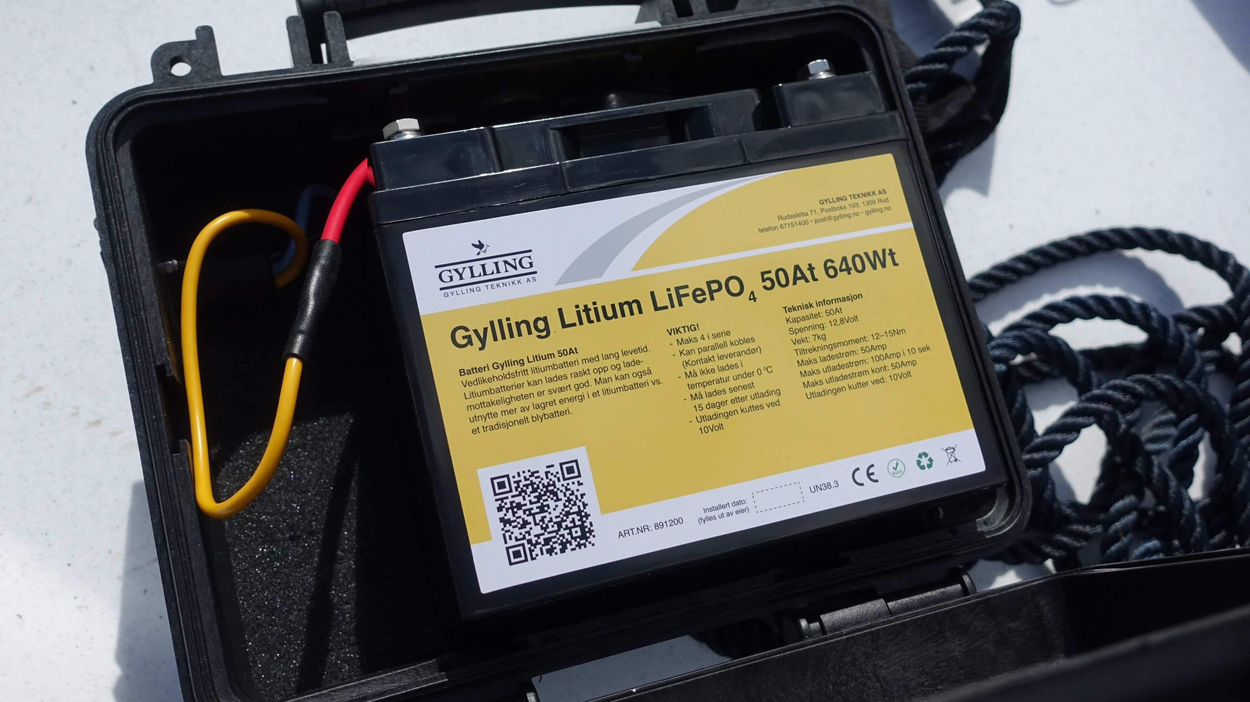 Slik ser batteriet ut inne i kofferten.