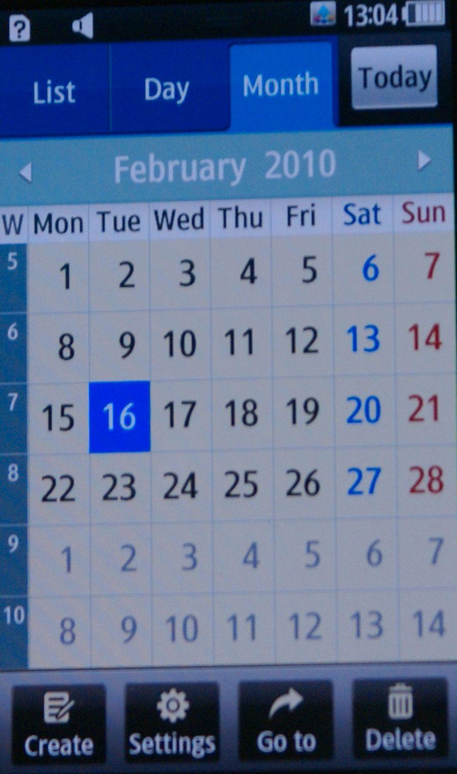 Oversiktlig kalender.