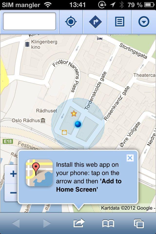 Her kan du legge Google Maps til startskjermen.