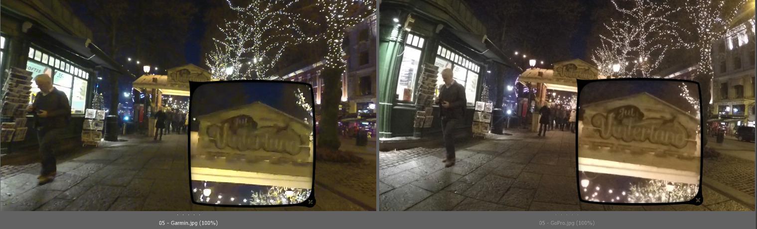 Bildet til venstre er fra Garmin Virb XE, bildet til høyre er fra GoPro Hero4 Black.
