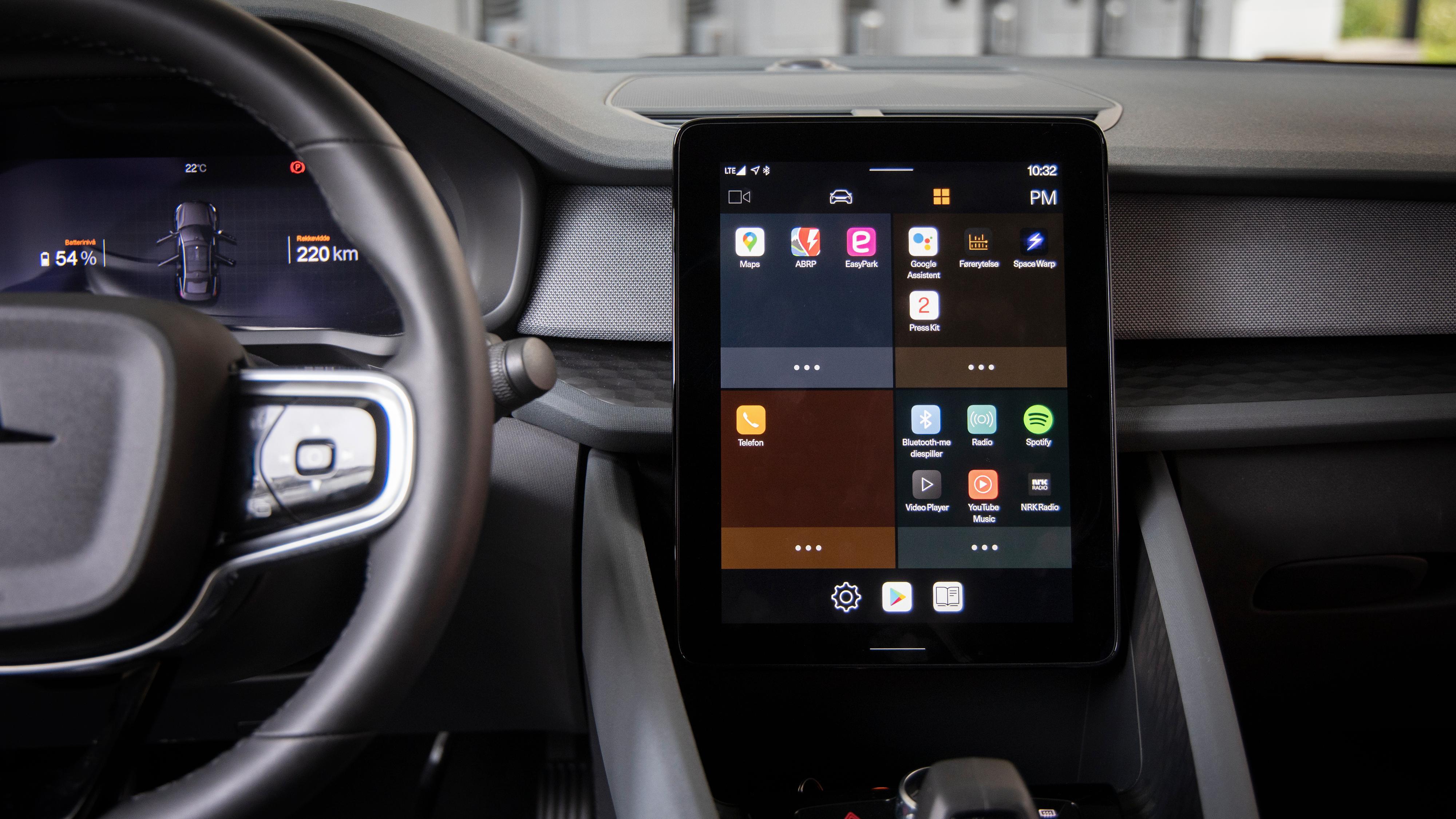 Stadig flere bilprodusenter ser til Googles Android Automotive. Her fra Polestar 2.