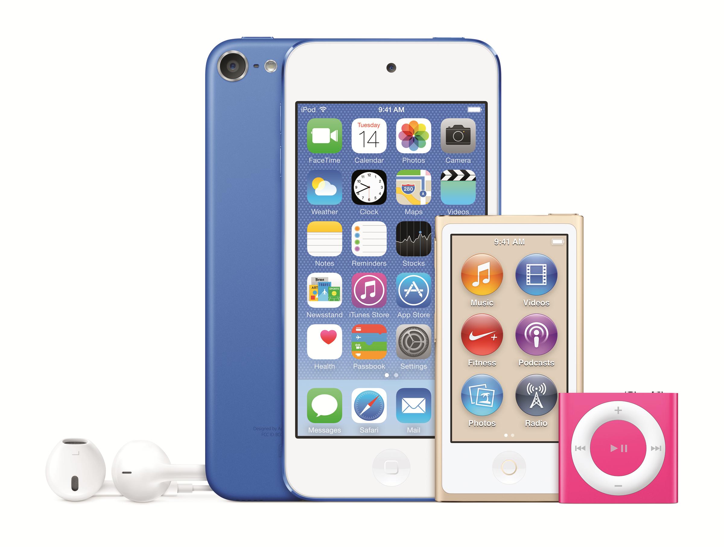 Hele iPod-familien, som nå fås i nye farger. Foto: Apple