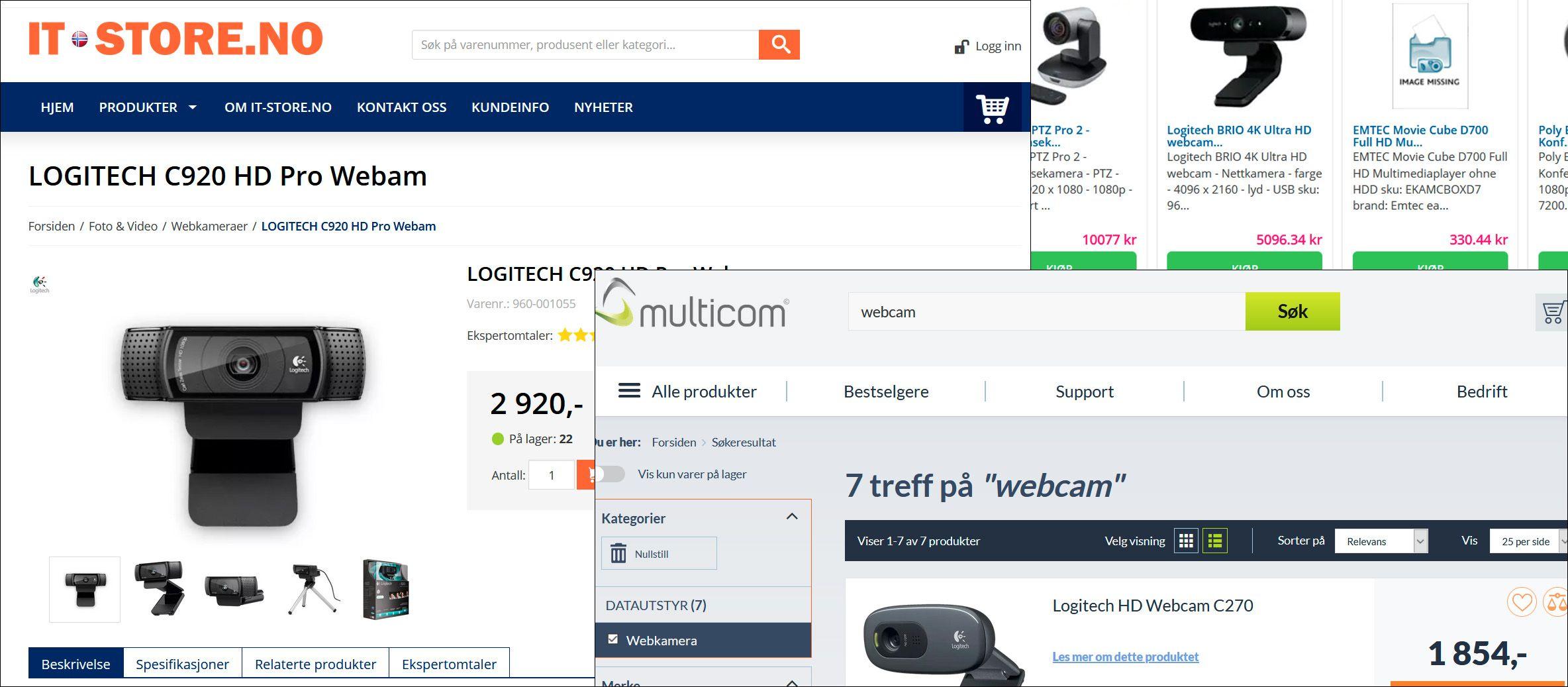 Slike ekstreme prisutslag har webkamera hos enkelte av de norske forhandlerne for tiden. Logitech sier at de ekstreme prisøkningene ikke kommer fra dem.