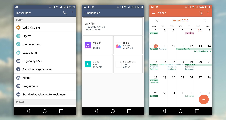 Innstillingene, filbehandleren og kalenderen fra LGs menysystem. Bilde: Torstein Norum Bugge, Tek.no/montasje/skjermdump