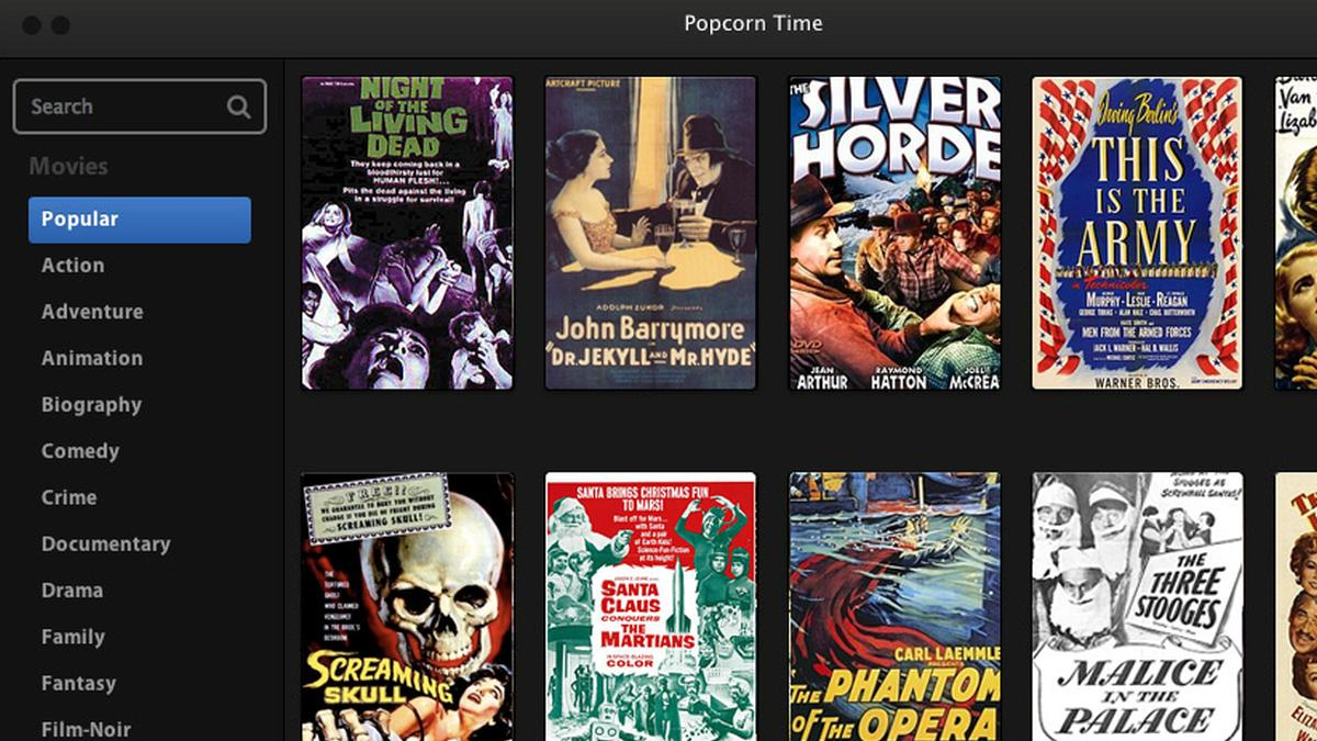 Popcorn Time. Foto: Skjermdump/Popcorn Time