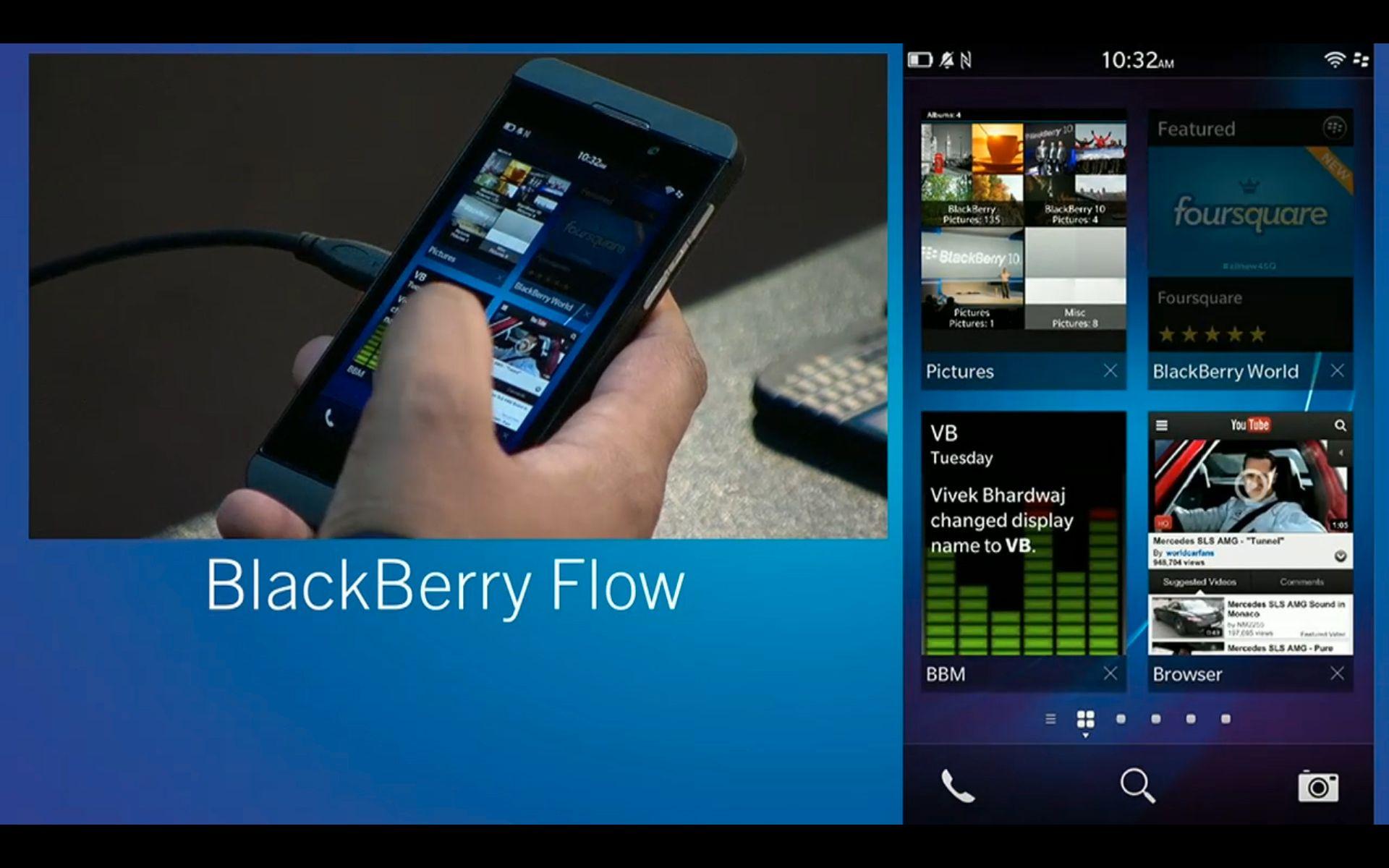 BlackBerry Flow viser deg appene som kjører. Du skal kunne veksle mellom disse uten å måtte via applikasjonsmenyen på telefonen.
