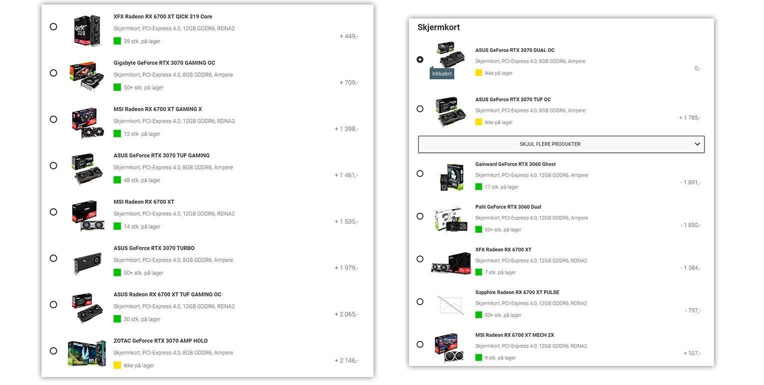 Alle disse grafikkortene er tilgjengelige på Komplett, men bare hvis du kjøper det som en del av en PC-pakke.