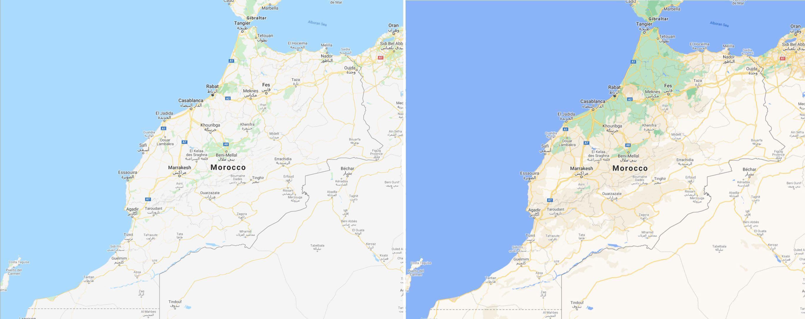 Marokko før og etter.