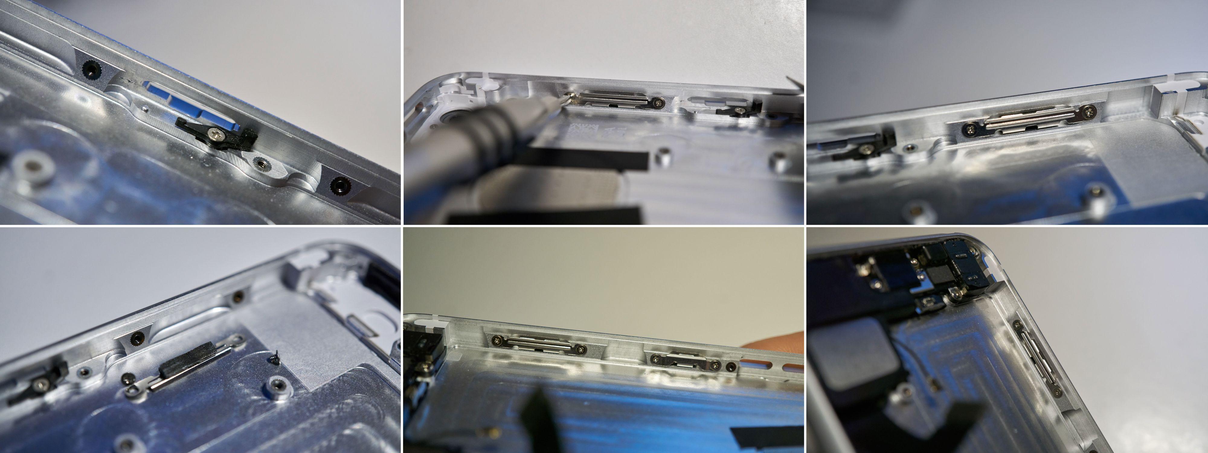 Masse små metallbraketter, samt plastbiten som låser SIM-kortluka måtte skrus ut fra det gamle og inn i det nye skallet.