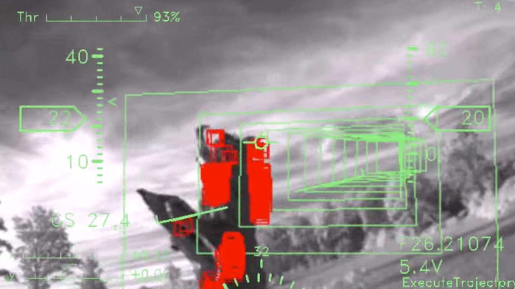 Dette er hva den autonome dronen ser. Rødt indikerer hindring. Foto: MIT/YouTube